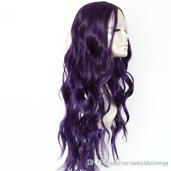 Fashion Purple Color Long Wavy Wigs Natural Hairline Heat Resistant Fiber Hair Glueless Synthetic Front Lace Wigs for Cosplay Party Women
