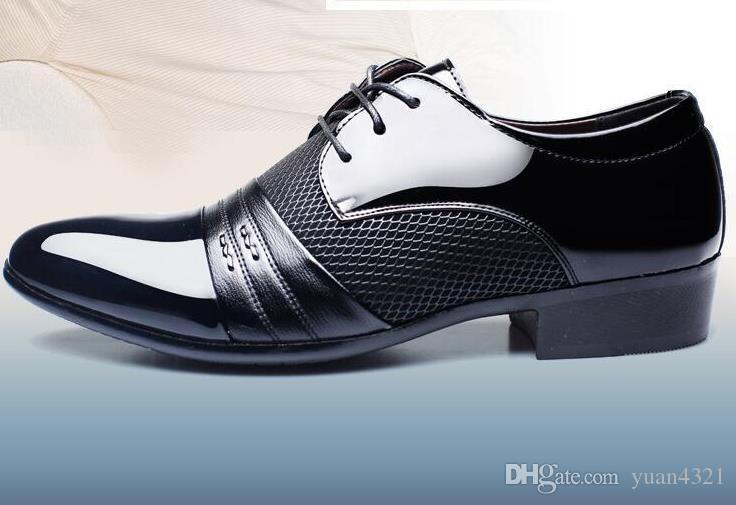 042ce0abe65457 Acheter Cuir Verni Noir Italien Italien Chaussures Marques De Mariage  Chaussures Formelles Oxford Pour Hommes Bout Pointu Robe Chaussures Sapato  Masculino ...