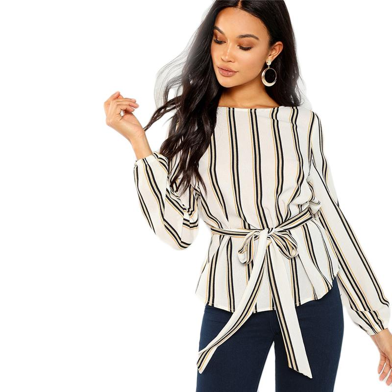 ef8c664a39e 2019 White Office Lady Elegant Striped Print Scoop Neck Long Sleeve Blouse  2018 New Autumn Workwear Women Tops And Blouses From Wuhanyujinzhe