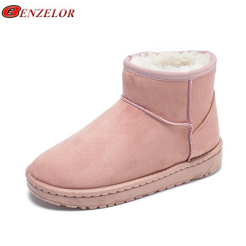 005242c74d25 BENZELOR 2018 Winter Snow Boots Women Shoes Woman New Warm Plush ...