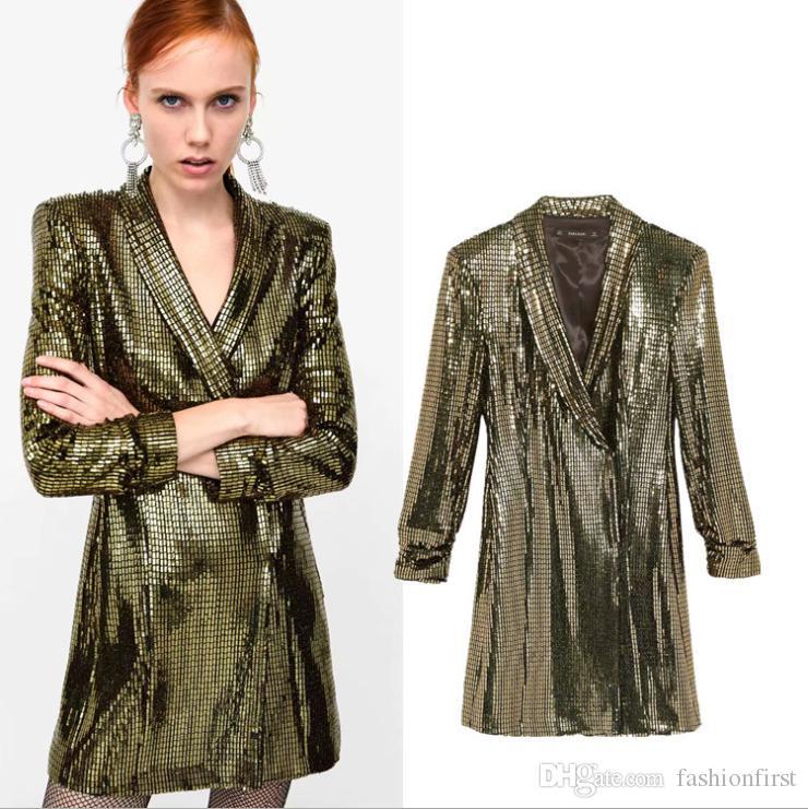 2019 Sale Sequins Dress Suit Gold Jacket Dress Womens Dressy Ladies