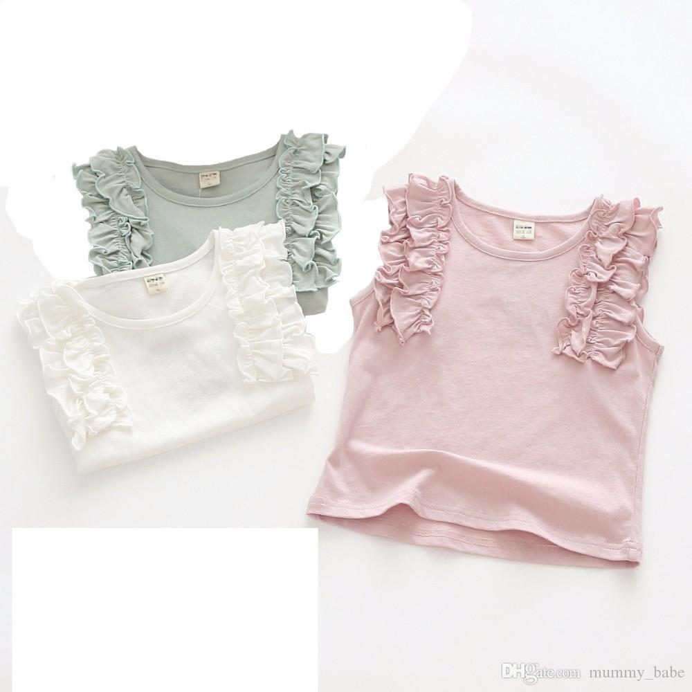 14d3980f74756 2018 Summer Toddler Kids Girls T-shirt Sleeveless Vest Tee Top Children  Clothes Cotton Girls Sleeveless Ruffle Tee DQ843