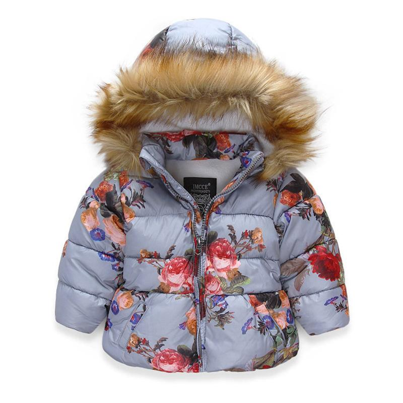 9f3be3720 Warm Coat For Girl Hooded Kids Outerwear Flower Printed Puffer Jacket Fur  Collar Children Girls Winter Clothes