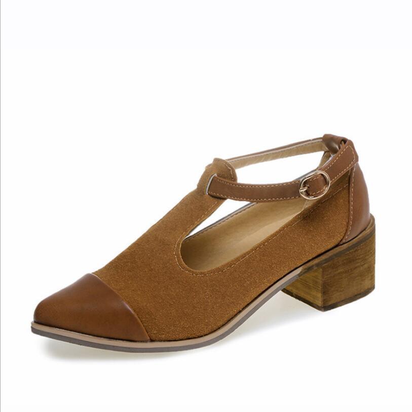 Femme Boucle Haute Talons Non Avec 5cm Strap Mature 3 2019 Rétro Pointu Chaussures Respirant Bout Sabot Printemps AcRL35jqS4