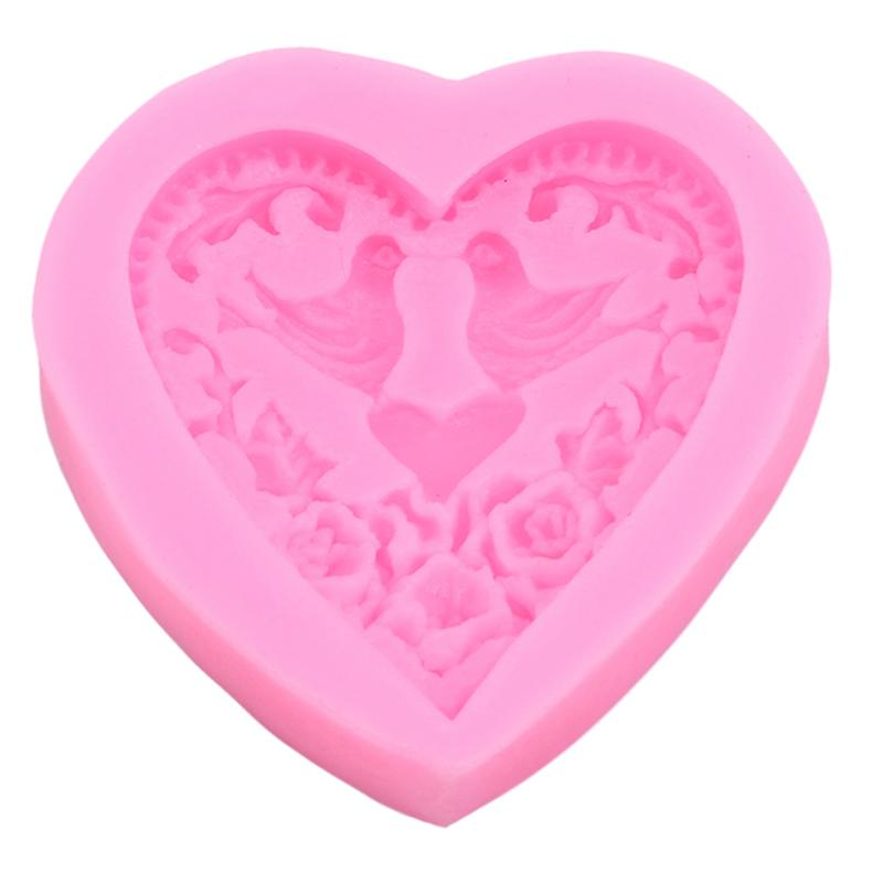 DIY Silicone Cake Baking Molds Heart Shape Chocolate Candy Fondant Moulds Love Bird Wedding Cake Decorating Tools
