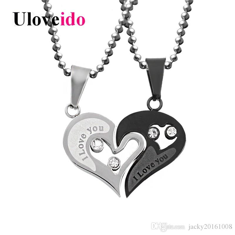 b98b1d9b66d3 Compre Uloveido Negro Corazón Amor Collares Colgantes Para Pareja Cadena De  Acero Inoxidable Para Hombre Moda Coreana Emparejado Colgante Colgante A   3.46 ...