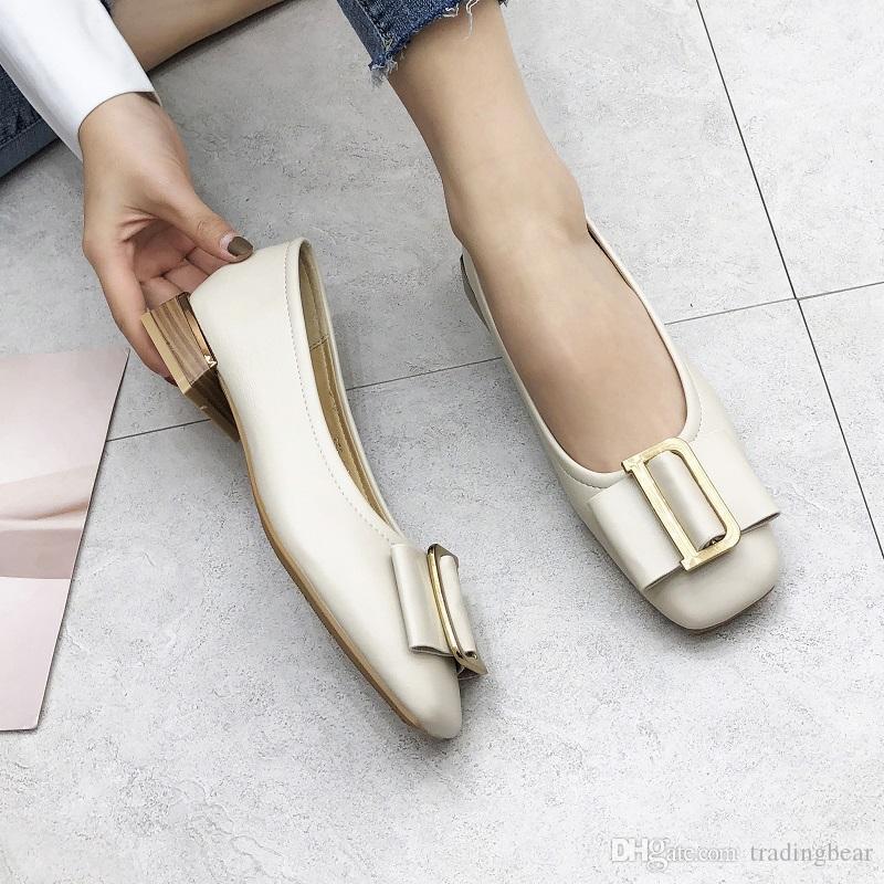 2019 korea fashion squared toe loxfords shoes khaki ivory low heel designer shoes women size 34 to 39