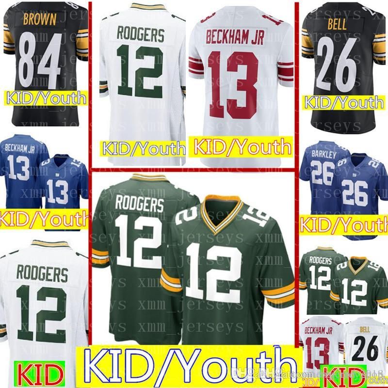 c0e92b86 Kids 12 Aaron Rodgers Green Bay Packers Jersey Youth KIDS Green Bay Packers  Football Jerseys 84 Antonio Brown Cheap wholesale S-XL