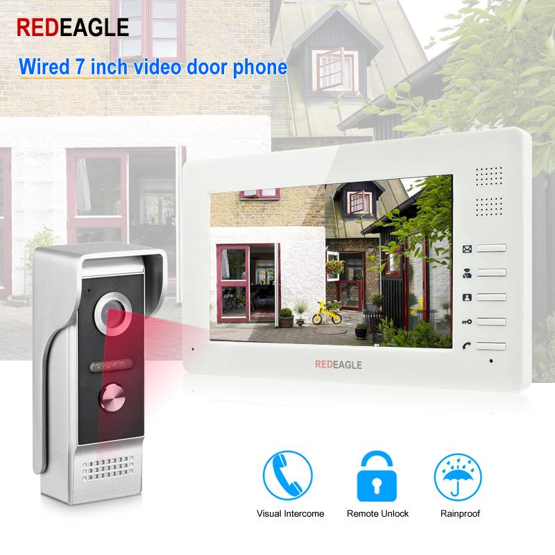 REDEAGLE Wired Video Door Phone 7 inch TFT-LCD Color Screen Weatherproof Night Vision Doorbell Camera For Apartment Villa