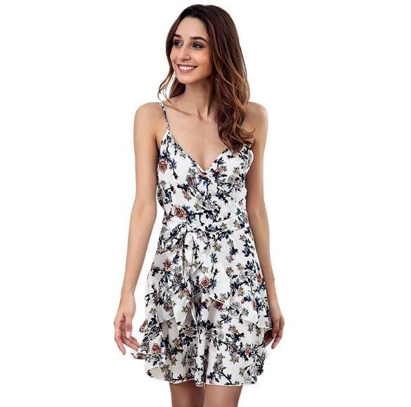 75e377c023 New Small Floral Sling V-neck Dress Backless Sexy Ruffled Sleeveless ...
