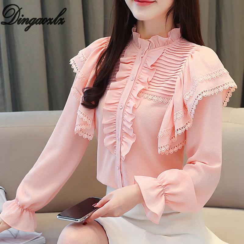 11b821e8f360 Dingaozlz tops de encaje de moda coreana elegante blusa de gasa de manga  larga para mujer ropa casual camisa de gasa