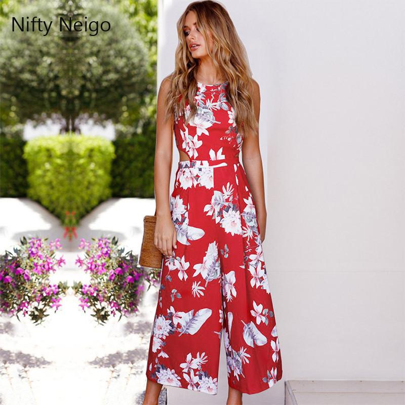 32774c659eea Nifty Neigo Sleeveless Floral Print Jumpsuits Hollow Out Backless Straight  Overalls Jumpsuits Cheap Jumpsuits Nifty Neigo Sleeveless Floral Print  Online ...