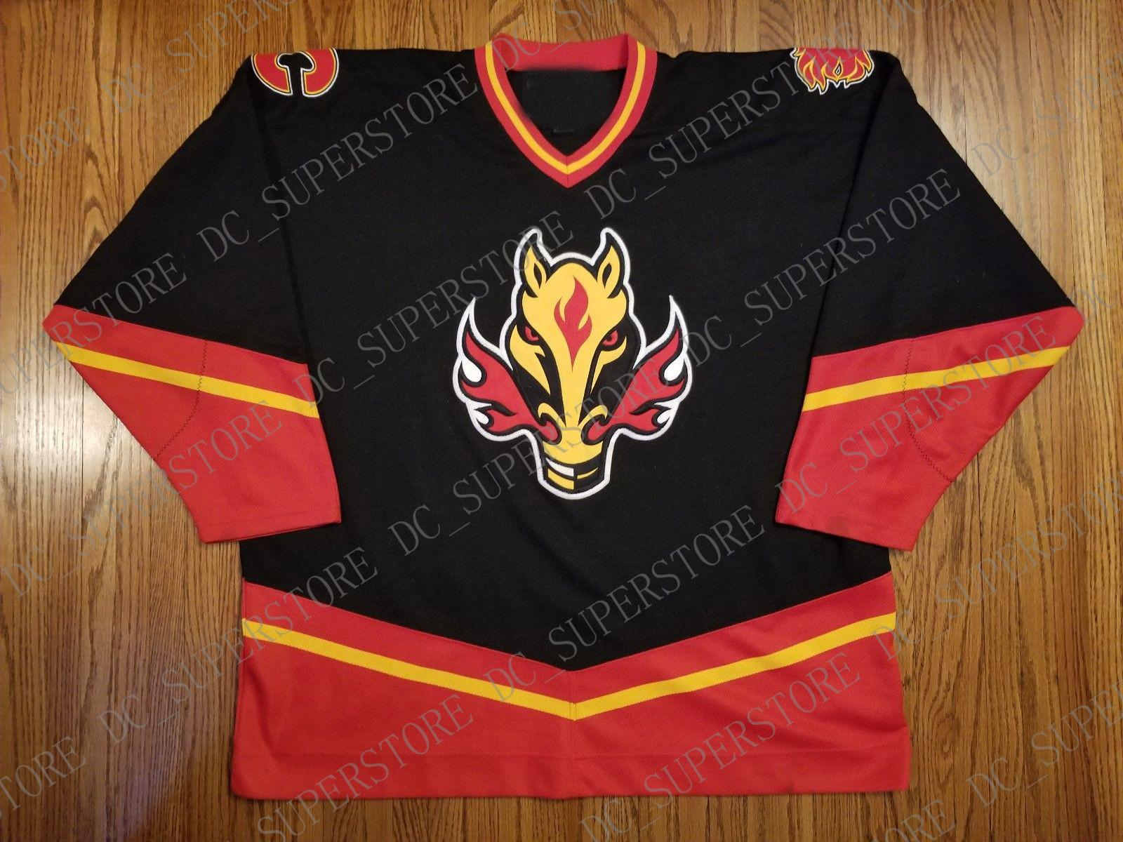 66c2e77f926 2019 Cheap Custom Calgary Flames Vintage Pro Player Jersey Third Horse Head  Stitched Retro Hockey Jersey Customize Any Name Number XS 5XL From  Dc_superstore ...