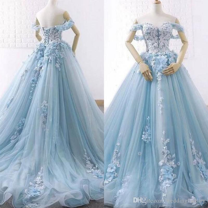 2019 Colored Plus Size Wedding Dresses Sweetheart Off the Shoulder Lace  Appliques Light Blue Corset Back Bridal Gowns with Court Train