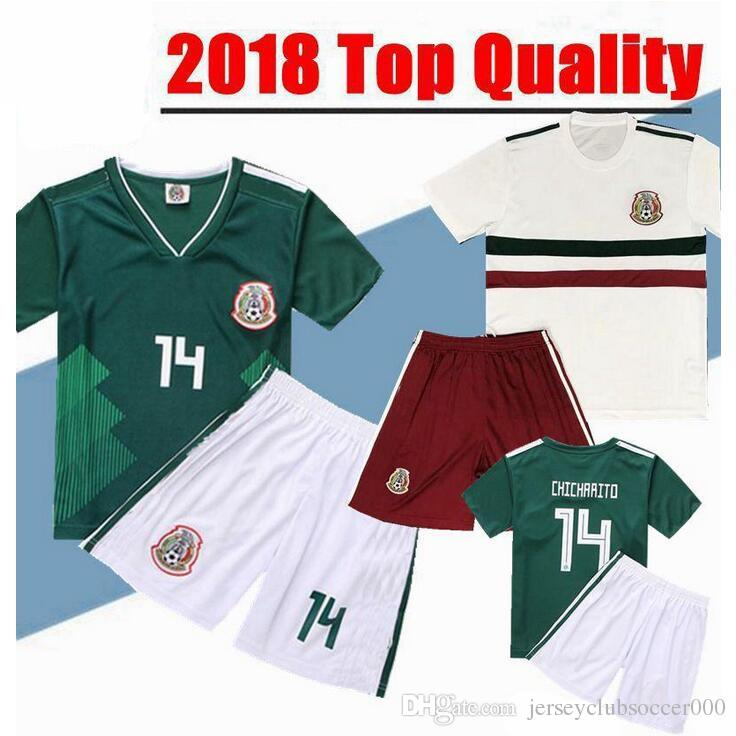 2019 2018 World Cup Mexico Soccer Jersey Kids Kit 2019 Mexico Home Green  Soccer Jerseys  14 CHICHARITO Child Soccer Shirts Uniform Jersey+Shorts  From ... 730e41042