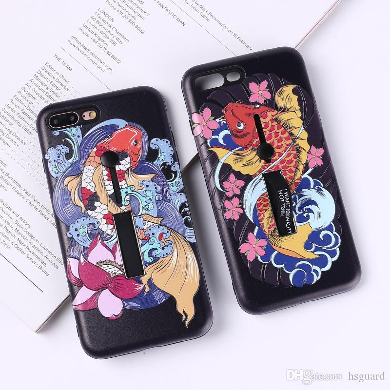 lucky carp phone cases 3d stereo painted relief for iphone x ringbest iphone sim unlocking cheap gpp unlock iphone sim