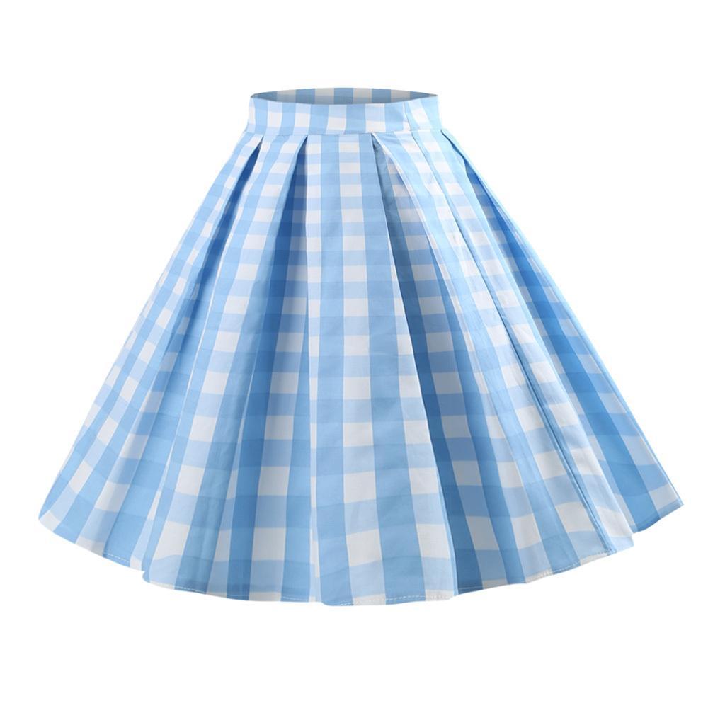 3f99f473f1 2019 Wipalo Plaid Print Vintage Skirt Women Plus Size S 5xl Cotton Zipper  Casual Midi Skirts 50s High Waist A Line Summer Skirts Blue J190426 From  Tubi02, ...