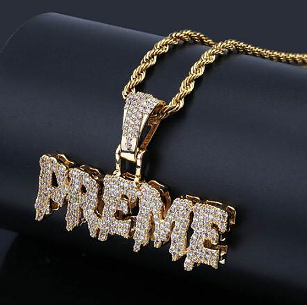 d0951772e66c8 Acheter 14K Plaqué Or Hip Hop Lettre PREME Collier Pendentif Mens Micro  Pavé De Zircones Cubiques Diamants Simulés Avec 24 Pouces Chaîne De $18.83  Du ...