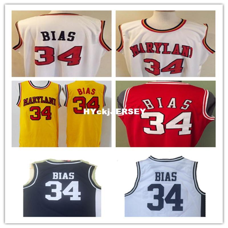 low priced ba78e 99468 Cheap #34 LEN BIAS 1985 MARYLAND TERPS BASKETBALL JERSEY  white,yellow,Stitched Rev30 Jersey, custom any name,number and sizes NCAA