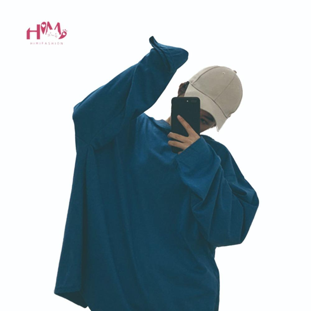 231e8c5aeee8 2018 Ulzzang Oversized Blue T-shirts Mujeres coreanas Harajuku Street  Fashion Tops Ropa Kpop Mujer manga larga suelta Negro Tees Y18121902
