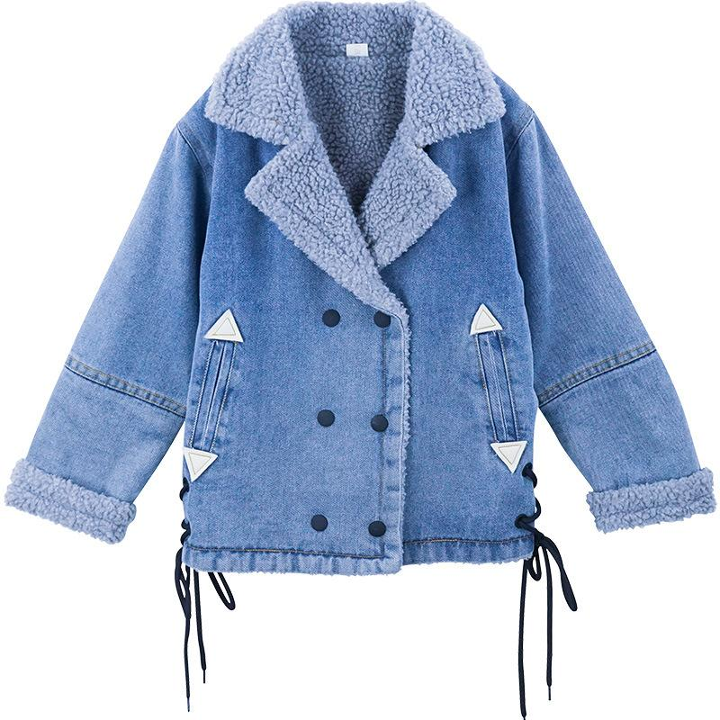 f5feacd62 Girls coat Toddler girl winter clothes Kids coats with faux fur Denim warm  jacket Velvet inner warm jackets Age for 4-14 years