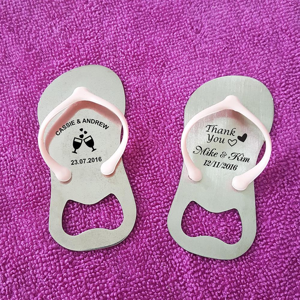 Custom Engraved Sandal Flip Flop Shaped Bottle Opener Personalized Wedding Gift Party Favor with Organza Bag, Blue / Pink