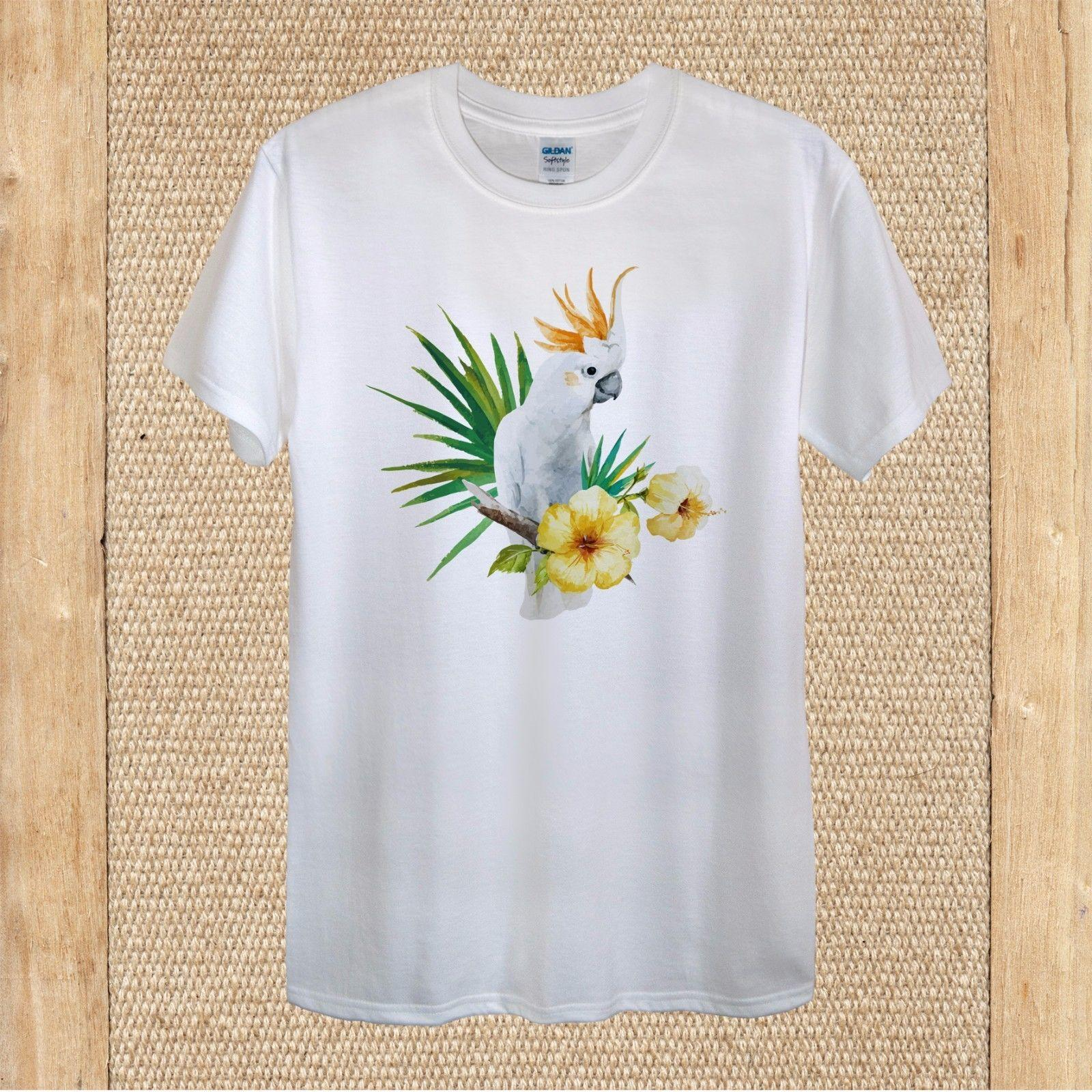 47badd766d1a Tropical Parrot Cockatoo Hibiscus Blooms Summer 100%cotton Unisex Women  Harajuku T Shirt Fashion Classic Unique Funny Tshirts Long Sleeve Shirts  From ...