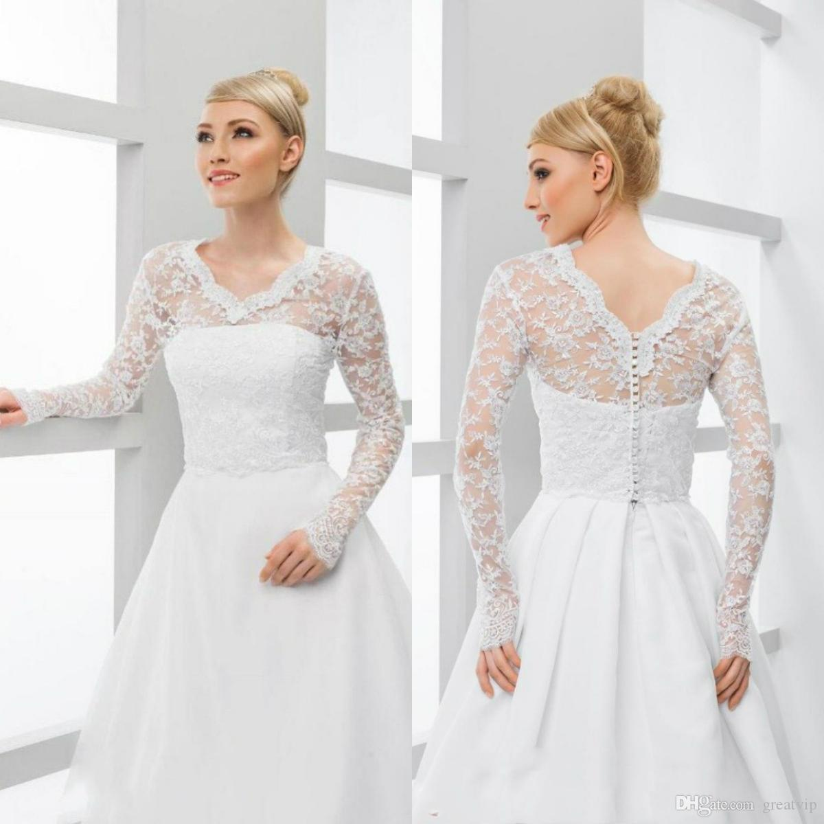 1d03a1aa32d 2019 Lace Bridal Wraps Jackets White V Neck Long Sleeve Wedding Boleros  Shawls For Wedding Dresses Bridal Gowns Large Size From Greatvip