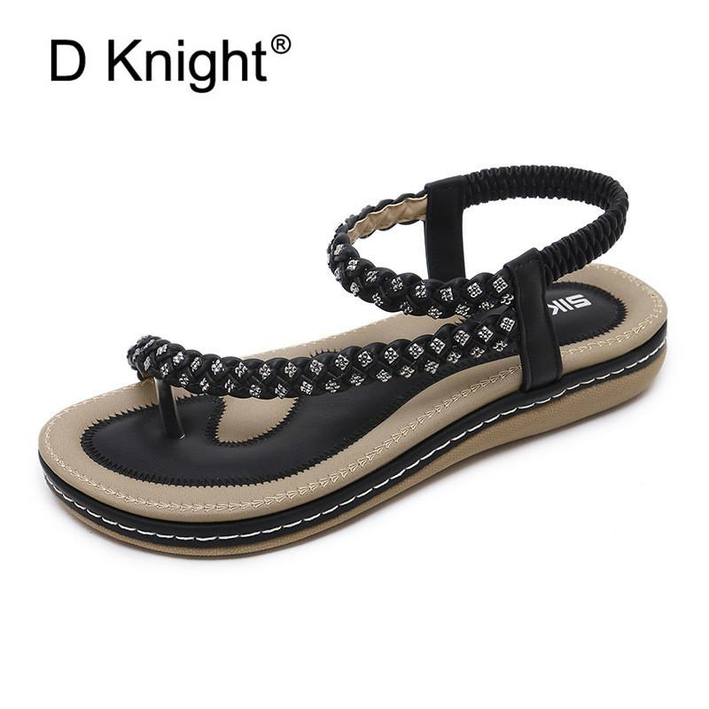 a2370d785872 2019 New Summer Shoes Women Bohemia Ethnic Flip Flops Soft Flat Sandals  Woman Casual Comfortable BigSize Platform Sandals 35 42 Leather Sandals  Wedding ...