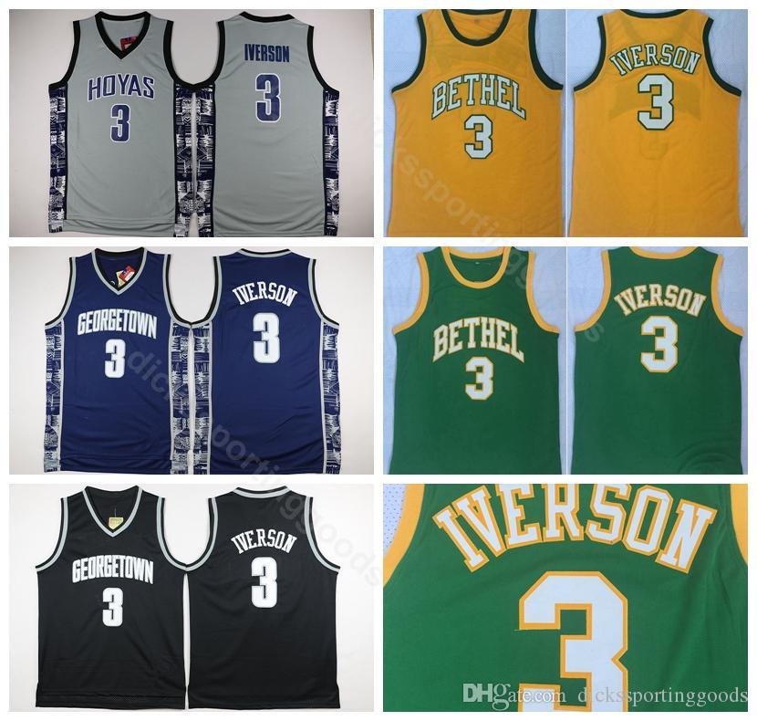 a37415c1e College Georgetown Hoyas College 3 Allen Iverson Jersey Men Bethel  Basketball Iverson High School Jerseys Green White Grey Yellow Black UK  2019 From ...
