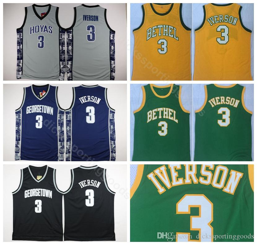 sports shoes 49653 149bd College Georgetown Hoyas College Allen Iverson Jersey 3 Men Bethel  Basketball Iverson High School Jerseys Green White Grey Yellow Black