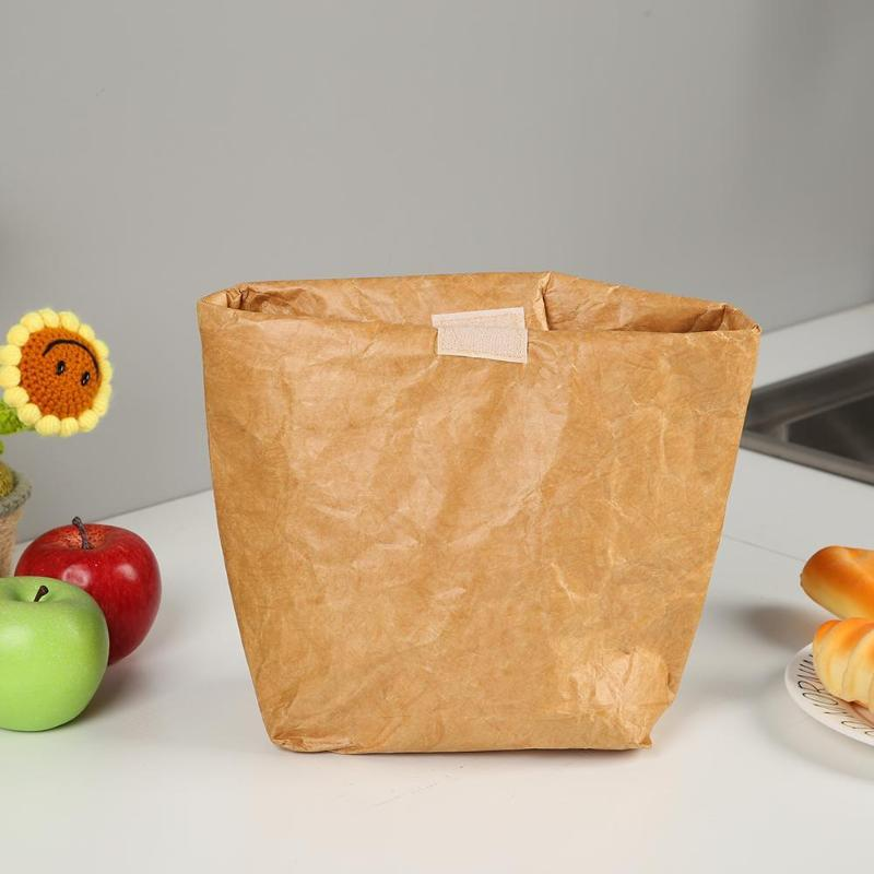 aff68dc643 Brown Paper Lunch Bag Degradable Eco-Friendly Reusable Lunch Box Durable  Folding Insulated Thermal Kraft Paper Bag Covered Storage Bags Cheap  Storage Bags ...
