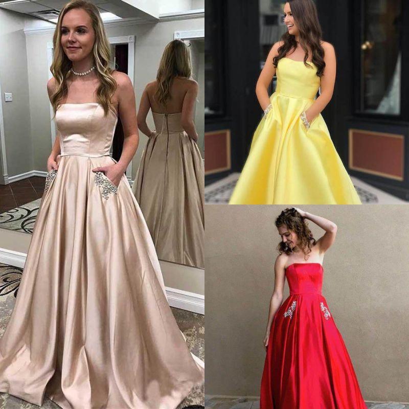 461a12631507 2019 Champagne Vestidos de baile 8vo grado Shiny A Line Sin tirantes  Elegante Noche Formal Vestido de fiesta Cremallera Volver Barato vestido de  ...
