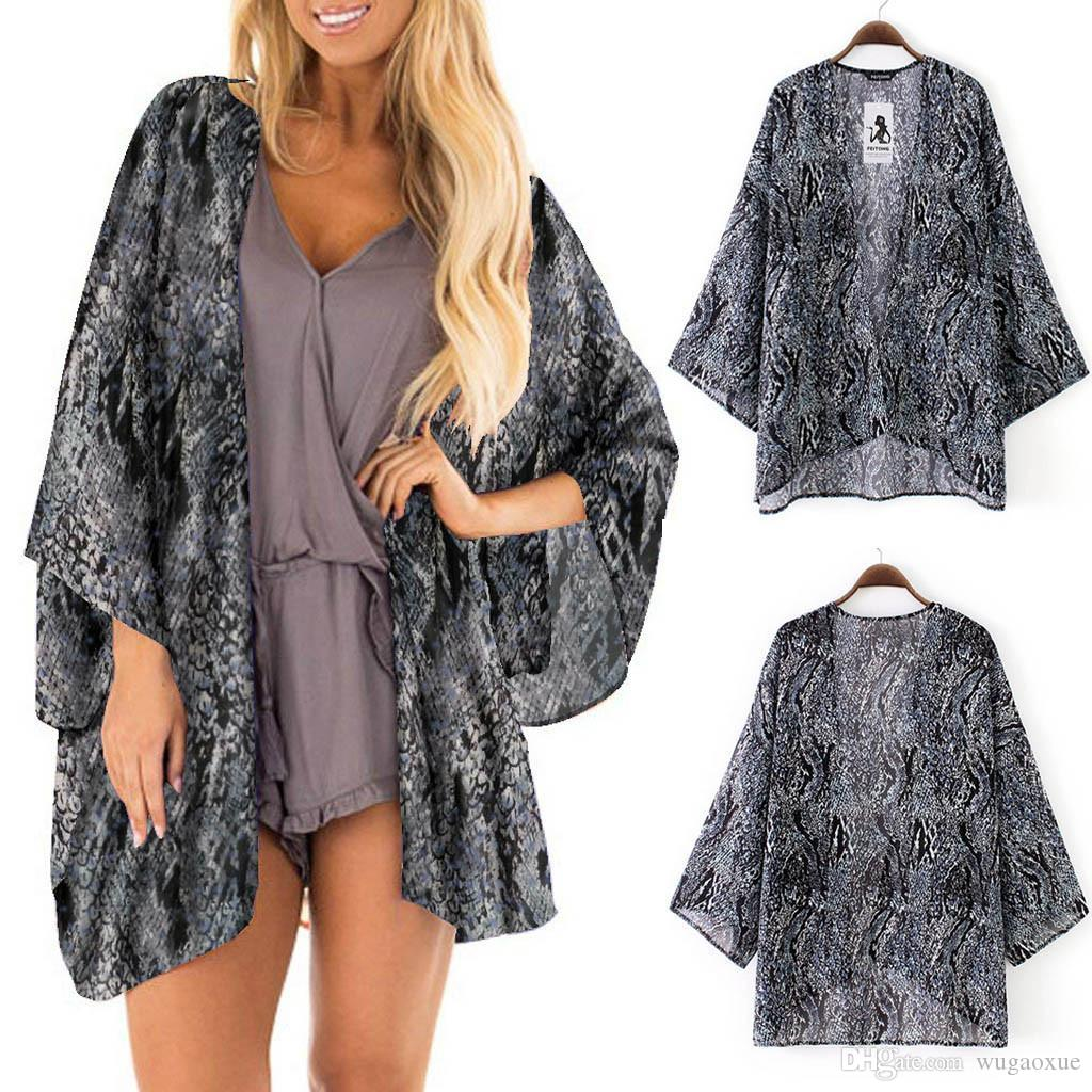 kimono cardigan woman 2019 Sheer Chiffon Beach Kimono Cardigan Blouse Shawl Loose Blouse Tops Shirt Floral Shirts Outwear