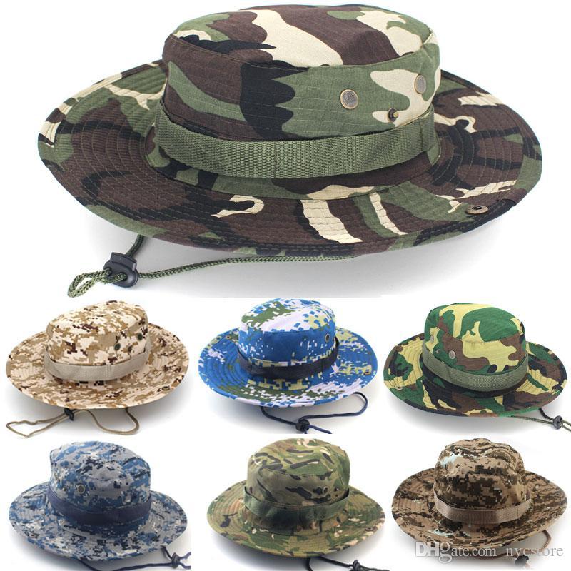 b962d33276 Compre Sombrero Del Cubo Del Algodón Para Los Hombres Camuflaje Militar De  La Moda Sombreros Del Pescador Con El Borde Ancho Sombrero Del Cubo De La  Pesca ...