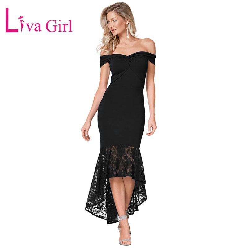 9204e2253 Compre LIVA GIRL Sexy Noche De Encaje Fuera Del Hombro Vestido De Sirena  Mujer Verano Twist Center Bodycon Vestidos De Fiesta Robe De Soiree Vestidos  A ...