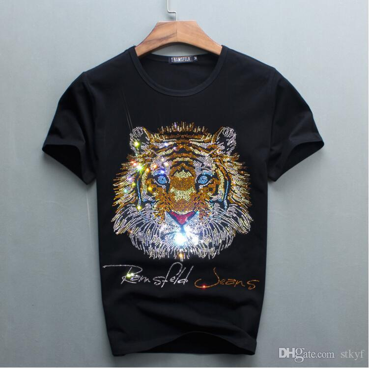 2018 Top quality COTTON luxury diamond design men tshirt short sleeve t-shirt dLK