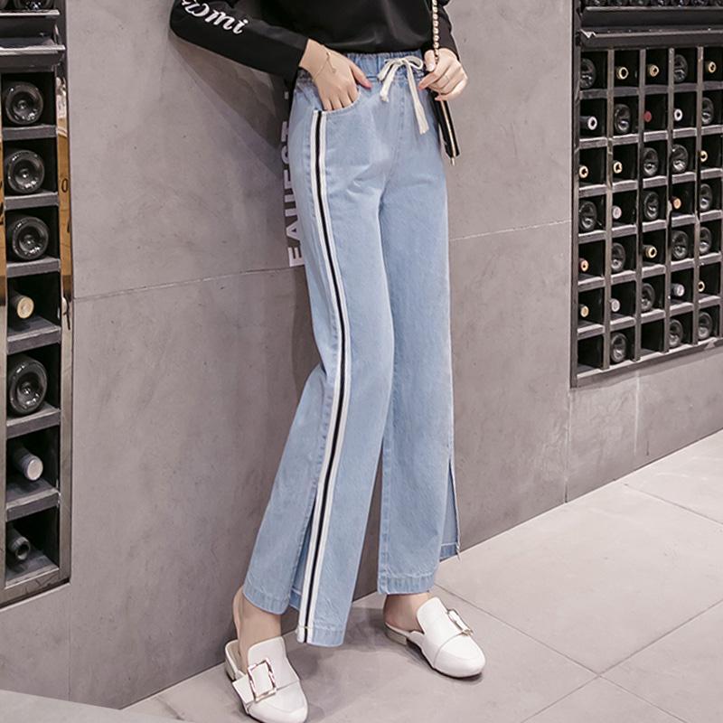 13085974de9a Mujeres pantalones de pierna ancha 2019 primavera verano moda femenina de  cintura alta pantalones casuales más tamaño jeans sueltos pantalones de ...