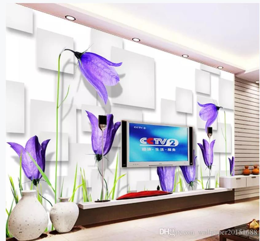 Fantasy purple flowers 3D box TV background wall wallpaper for walls 3 d for living room