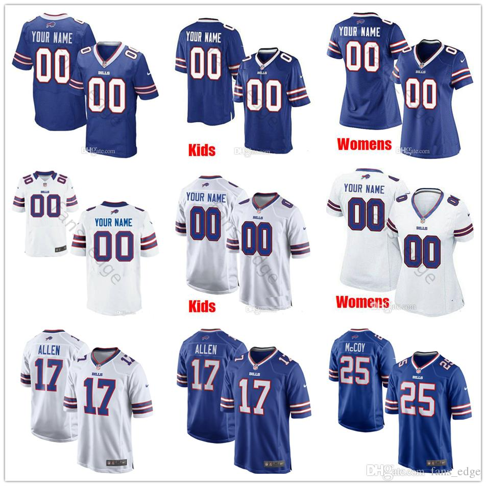 new concept 6153b 3f494 Custom New Buffalo #17 Josh Allen 49 Tremaine Edmunds 11 Zay Jones 21 Poyer  McCoy 13 Kelvin Benjamin Men Women Youth Bills Stitched Jerseys