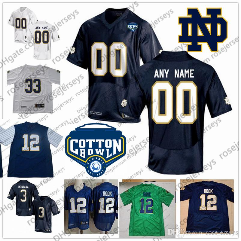 Custom Notre Dame Fighting Irish College Football White Navy Green Stitched  Any Name Number  3 Montana 12 Book 2018 NCAA Cotton Bowl Jerseys Canada  2019 ... e3101c49a