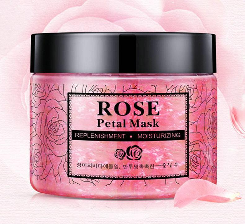 DHL 24pcs NEW Rose Petals Hydrating Face Mask Nourishing Skin lifting Face Mask Bright Petals Clay Sleeping Masks Treatment Black Mask