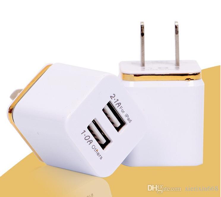 Samsung S8 Not Için 2019 8 Çift USB Duvar Şarj 5 V 2.1A 1A Metal Seyahat Adaptörü ABD, AB tak AC Güç Adaptörü