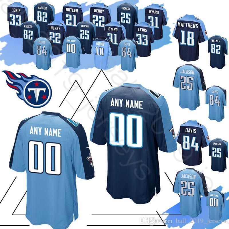 new concept cb3be 91bd3 Tennessee Custom Titan jerseys 84 Corey Davis 82 Walker 22 Henry 33 Lewis  21 Jackson 31 Byard jersey