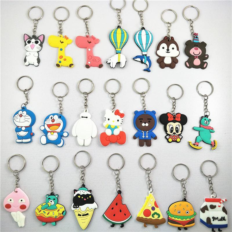 Cute Cartoon Keychain Plastic Cat Bear Key Ring Gift for Women Girls Bag Pendant PVC Figure Charms Key Chains Jewelry