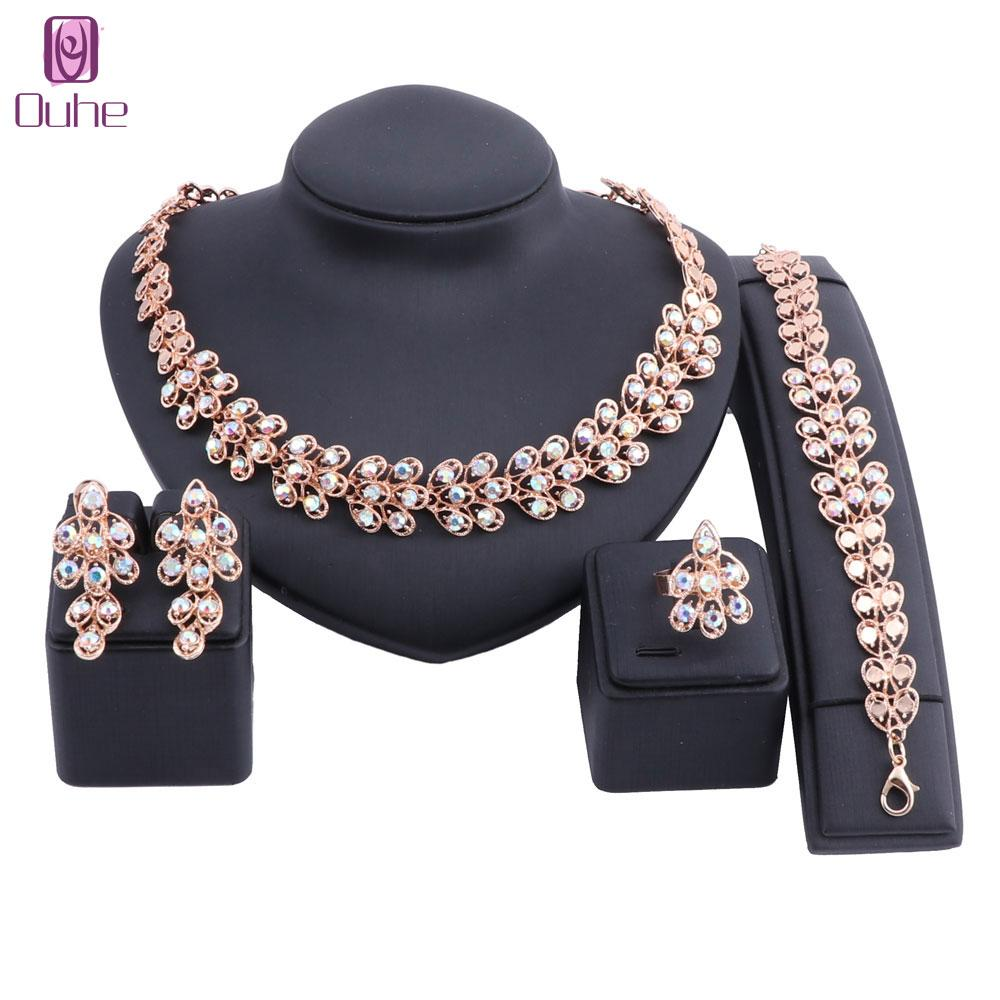 New Gold Color Nigerian Wedding African Beads Jewelry Sets Women Dubai Rhinestone Crystal Jewelry Set Wholesale Costume Design