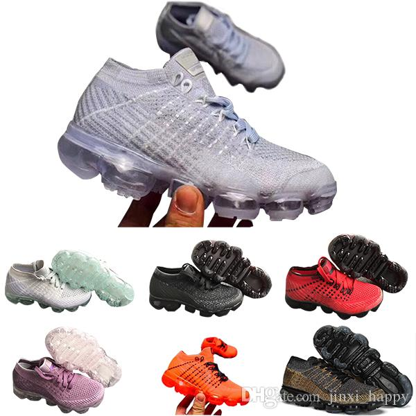 on sale 33ac3 edf58 Acheter Nike Air Max Voparmax 2018 Kids Chaussures De Course Triple Noir  Sneakers Pour Bébé Rainbow Chaussures De Sport Pour Enfants Filles Et  Garçons ...
