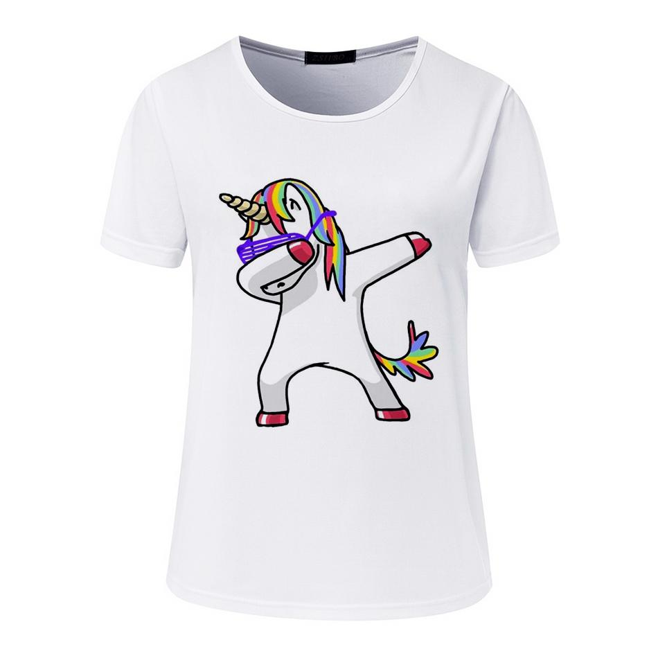 Compre Blusas Dabbing Unicornio Camisa De Mujer De Manga Corta O Cuello  Tops Moda De Dibujos Animados Impreso Hip Hop Camisas BTS A  17.43 Del  Jincaile02 ... 43fe2d81e4e