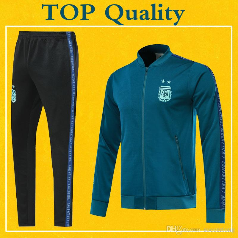 5f2ccb6a0 2019 Argentina Soccer Jacket Navy Blue Tracksuit 2019 Top Quality PRE MATCH  Winter Training Suit 19 20 Football Jacket Sports Pants Set From  Soccertong, ...