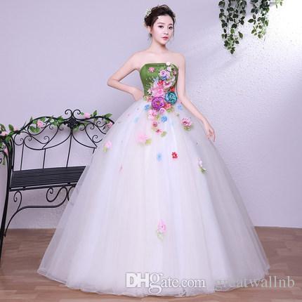 91fd7b785c547 green&white flower fairy princess long gown medieval dress cartoon princess  Medieval Renaissance Gown queen cosplay Victoria dress